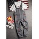Fashion Multi-Pocket Casual Loose Grey Workwear Bib Overalls Jumpsuits