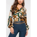 Cool Gold Compass Printed Surplice V-Neck Long Sleeve Casual Blouse Top
