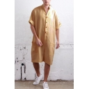 Guys Fashion Solid Color Button Front Stand Collar Loose Baggy Linen Rompers Shorts