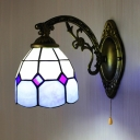 Tiffany Style Dome Wall Sconce Glass 1 Light Wall Lamp with Pull Chain for Dining Room