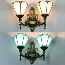 Blue/White Cone Wall Sconce 2 Lights Tiffany Style Antique Glass Sconce Light for Hotel Hallway