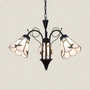 Glass Cone Hanging Light with Leaf 3 Lights Rustic Style Chandelier for Restaurant Living Room