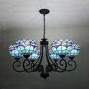 Tiffany Style Baroque Dome Chandelier Stained Glass 6 Lights Ceiling Light for Hotel Cafe