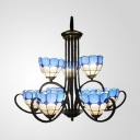 Stained Glass Dome Chandelier Living Room Villa 9 Lights Mediterranean Style Ceiling Light in Blue