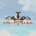 iving Room Hotel Dome Chandelier Stained Glass 7 Heads Tiffany Style Vintage Suspension Light