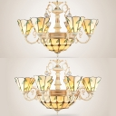 Tiffany Style Rustic Pendant Light Dome & Cone 9/11 Heads Glass Engraved Chandelier with Leaf for Villa