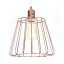 1 Light Caged Ceiling Light Rustic Style Metal Pendant Lamp in Rose Gold for Balcony Foyer