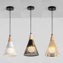 1 Light Hollow Cone Ceiling Pendant Rustic Style Metal Hanging Light in Black/Gold/White for Shop
