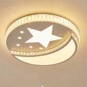 Lovely Star Moon Flush Mount Light White Lighting Acrylic LED Ceiling Light with Crystal for Kindergerten