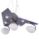 Vintage Style Airplane Pendant Lamp Metal & Frosted Glass Hanging Light for Boy Bedroom