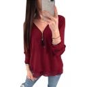 Women's V Neck Long Sleeve Tassel Zip Solid Chiffon T-Shirt