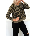 Hot Women's Leopard Printed Round Neck Long Sleeve Split Hem Pullover Army Green Sweatshirt