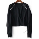 Casual Round Neck Raglan Sleeve Plain Sweatshirt with Drawcord