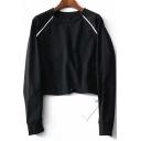 Casual Round Neck Raglan Sleeve Plain Sweatshirt with Drawcord