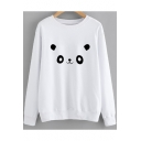 Street Style Cartoon Panda Print Round Neck Long Sleeve Unisex Cotton Sweatshirt