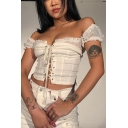 Summer New Trendy Plain Off The Shoulder Short Sleeve Mesh Ruffled Hem Lace-Up Front Cropped White T-Shirt