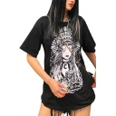 Summer Stylish Black Round Neck Short Sleeve Figure Print Tunic Loose Tee For Women