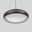 Round Living Room Pendant Lamp Acrylic Simple Style Black/White Hanging Light in Warm/White