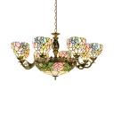 Stained Glass Flower Chandelier 11 Lights Tiffany Style Rustic Hanging Light for Hotel