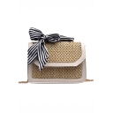Hot Fashion Stripe Bow Tied Straw Square Crossbody Shoulder Bag 20*7*15 CM