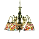 Dome Restaurant Pendant Light Stained Glass 5 Lights Tiffany Style Chandelier with Mermaid