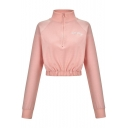 New Stylish Zipper Front Stand Collar Long Sleeve Letter Embroidered Pullover Sweatshirt