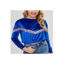 Blue Pleuche Sequined Embellished Round Neck Long Sleeve Cropped Sweatshirt