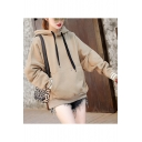 New Women's Drawstring Hood Stripe Contrast Trim Long Sleeve Loose Fit Hoodie with Pocket