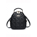 Trendy Solid Color Black Diamond Quilted Backpack with Zipper for Women