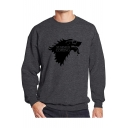 Men's Funny Wolf Head Printed SUMMER COMING Letter Long Sleeve Round Neck Pullover Sweatshirt