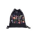 Trendy Colored Letter Printed Black Storage Bag Drawstring Backpack 30*39 CM