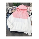 New Stylish GREENLIGHT SIGH Letter Embroidered Colorblock Drawstring Hood Long Sleeve Hoodie for Women