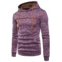 Hot Fashion Simple Plain Long Sleeve Pocket Detail Drawstring Hoodie For Men