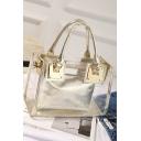 New Trendy Plain Transparent Shoulder Tote Bag Handbag 19*13*27.5 CM