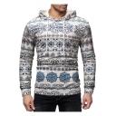 New Trendy Tribal Printed Long Sleeve Slim Fit Drawstring Hoodie
