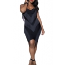 Womens New Trendy Solid Color Strapless Zipper Back Chic Tassel Hem Mini Bandeau Dress
