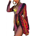 Women's Tribal Print Plunge Neck Long Sleeve Split Mini A-Line Dress