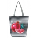 Designer Fruit Stripe Printed Black and White Shoulder Tote Bag 27*11*38 CM