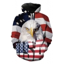 New Fashion USA Letter American Flag Eagle 3D Print Long Sleeve Loose Fit Hoodie
