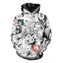 3D Comic Ahegao Figure Letter Printed Black and White Long Sleeve Unisex Drawstring Hoodie with Pocket