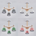 Wood Dome Chandelier Kids Bedroom 3 Lights European Style Ceiling Light in White/Gray/Green/Pink
