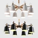 8 Lights Bucket Chandelier Modern Metal Pendant Lamp in White/Black for Living Room