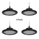 Black Slim UFO LED Bay Light 1/4 Pack Aluminum 50W Pendant Lighting for Factory Gym