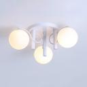 Dining Room Globe Shade Semi Flush Mount Light Frosted Glass 3/5/9 Lights White Ceiling Light