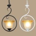 American Rustic Flower Shade Pendant Light 1 Light Glass Hanging Lamp in Black/White for Balcony
