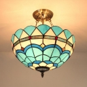 Stained Glass Peacock Tail Chandelier Tiffany Style Nautical Pendant Lamp in Blue for Foyer