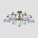 Dome Shade Pendant Lamp 7/9 Lights Tiffany Style Nautical Chandelier with Mermaid for Living Room