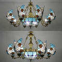 Mediterranean Style Dome Chandelier with Butterfly Glass 7/9 Lights Blue Pendant Lamp for Restaurant
