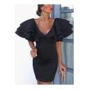Fashion Black Flutter Sleeve V Neck Solid Color Mini Pencil Dress