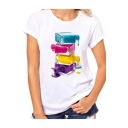 Colorful Perfume Bottle Printed White Round Neck Short Sleeve Tee